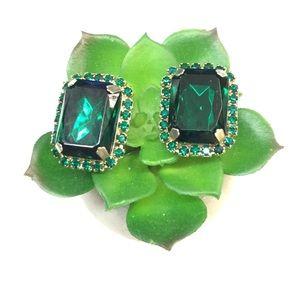 Vintage 80'S Emerald Green Rhinestone Earrings